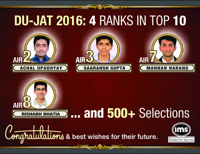 DU-JAT 2016: 4 Ranks in Top 10